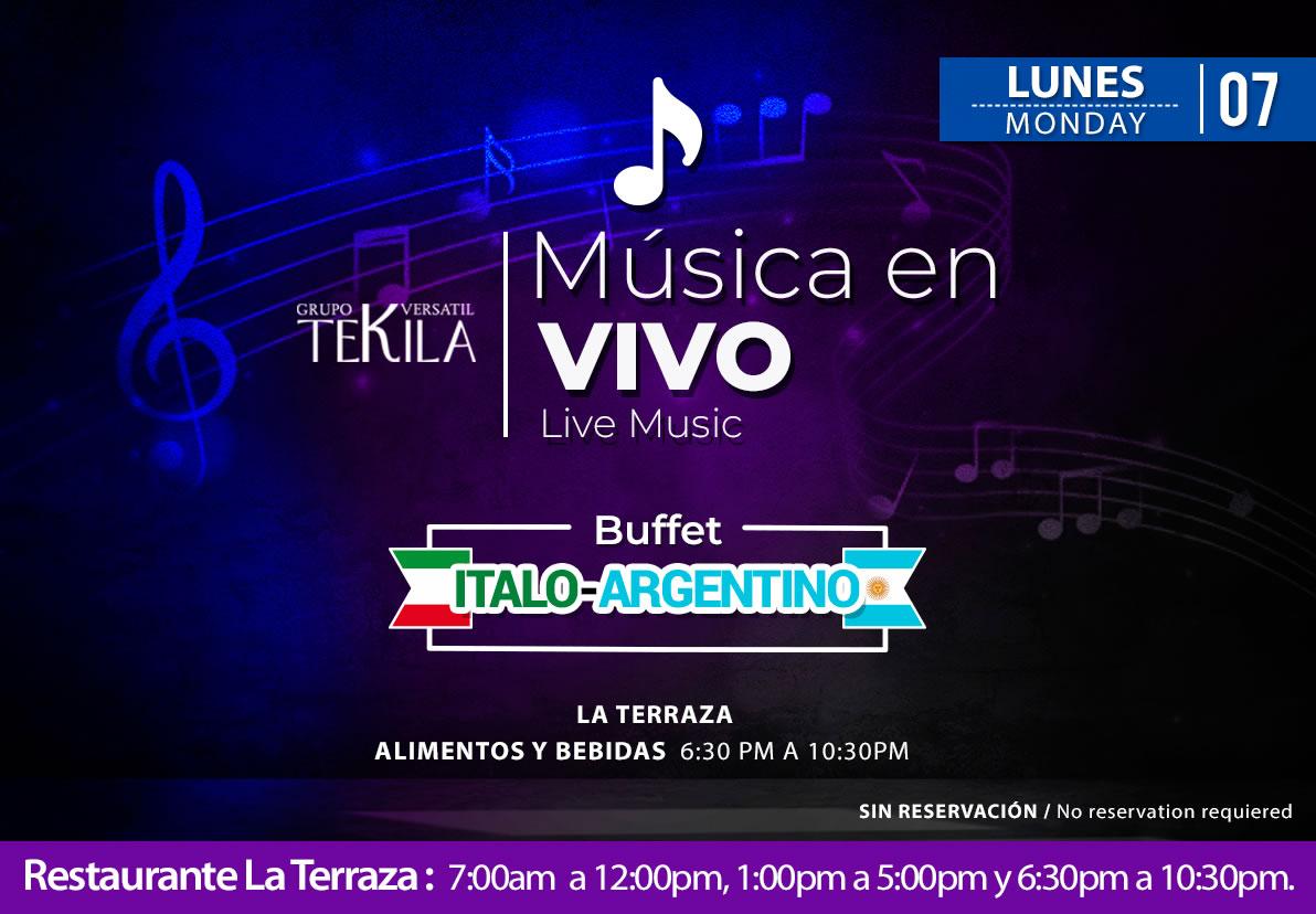 Live Music at La Terraza Restaurant Monday 7 September 2020