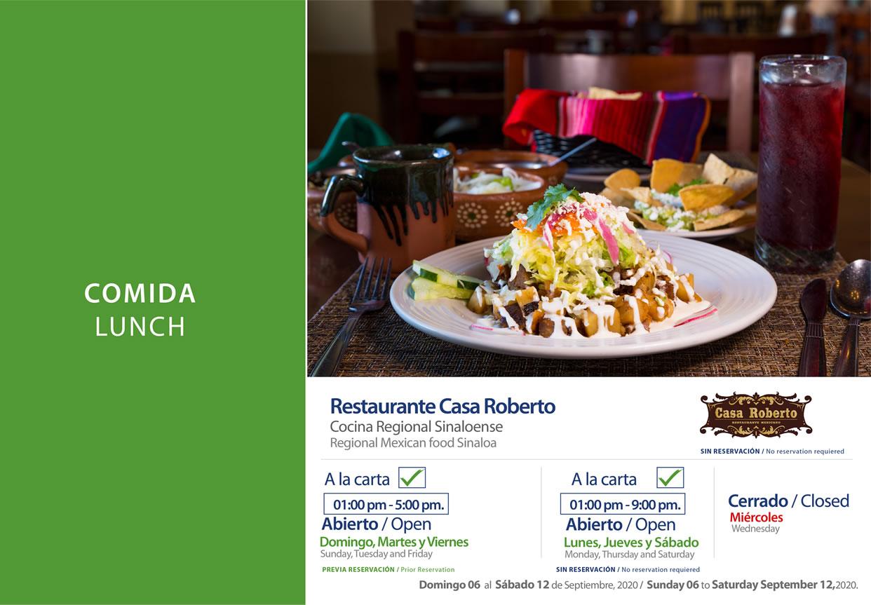 Lunch Casa Roberto 6-12 September 2020