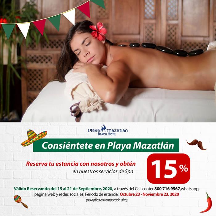 Obtén 15 de Descuento en nuestro Spa Hotel Playa Mazatlán