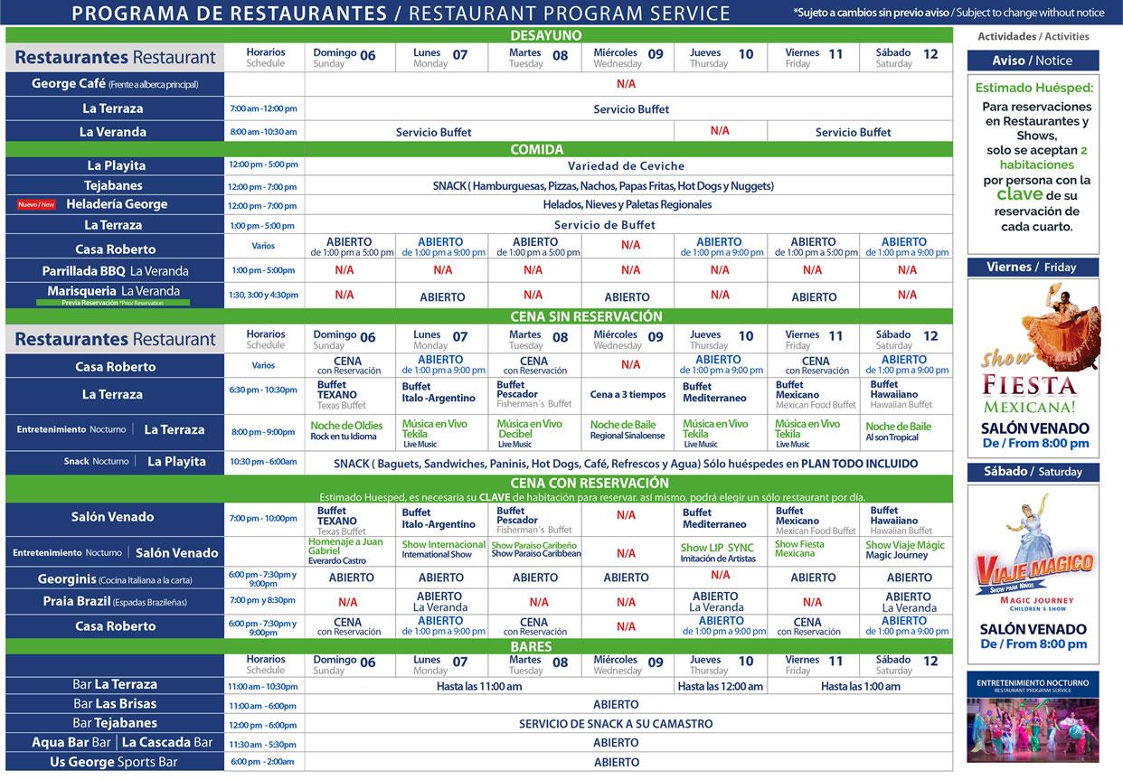 Programa de Restaurantes de Hotel Playa Mazatlán del 6-12 de Septiembre 2020