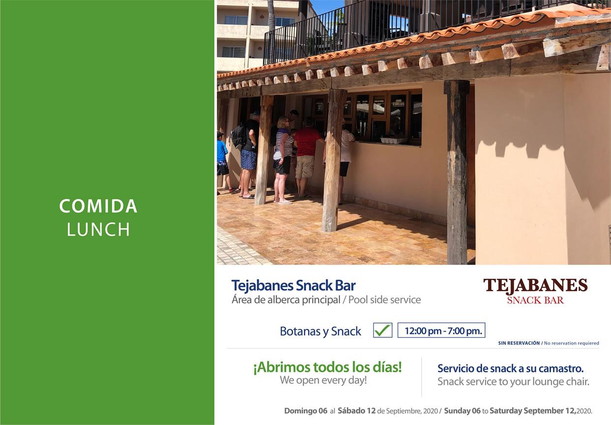 Snack Bar Tejabanes 6-12 September 2020