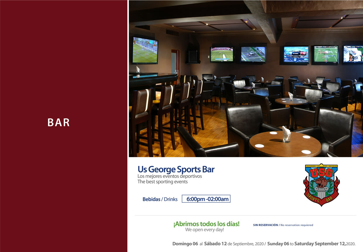 USG Sports Bar 6-12 September 2020