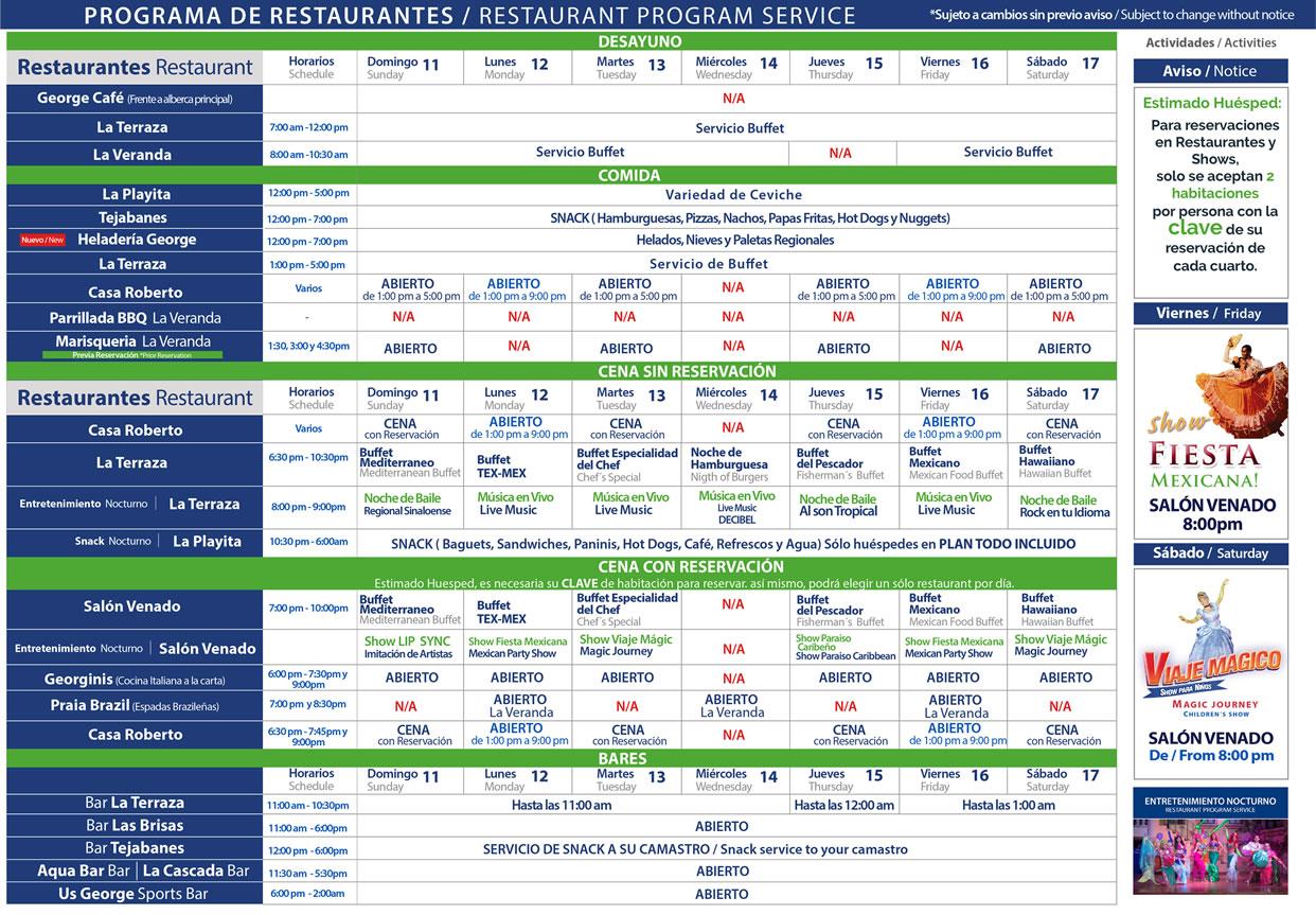 Programa de Restaurantes de Hotel Playa Mazatlán del 11-17 de Octubre 2020