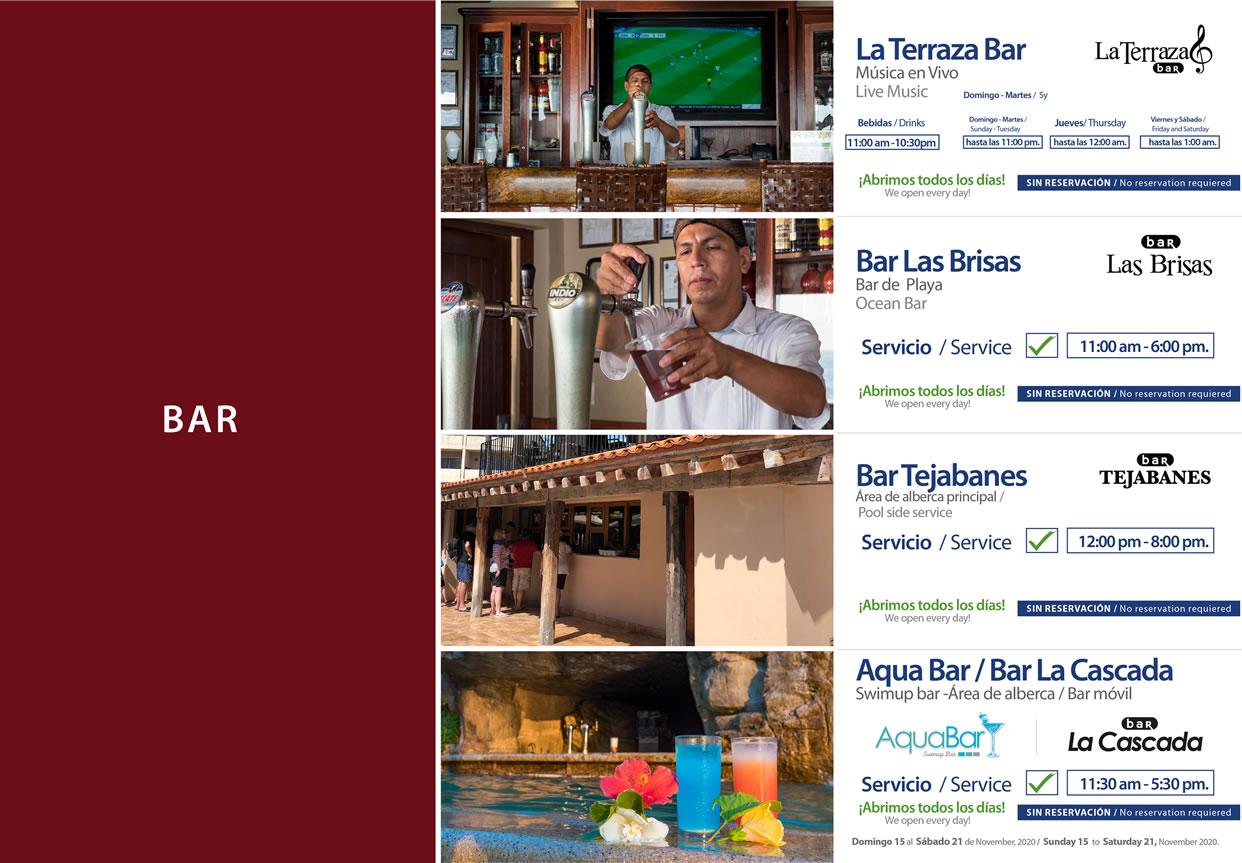 Bares de Hotel Playa Mazatlán Noviembre 15-21 del 2020
