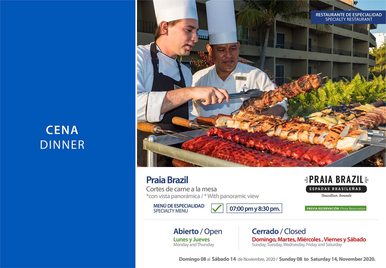 Cena Praia Brazil en Restaurante La Veranda Noviembre 15-21 del 2020