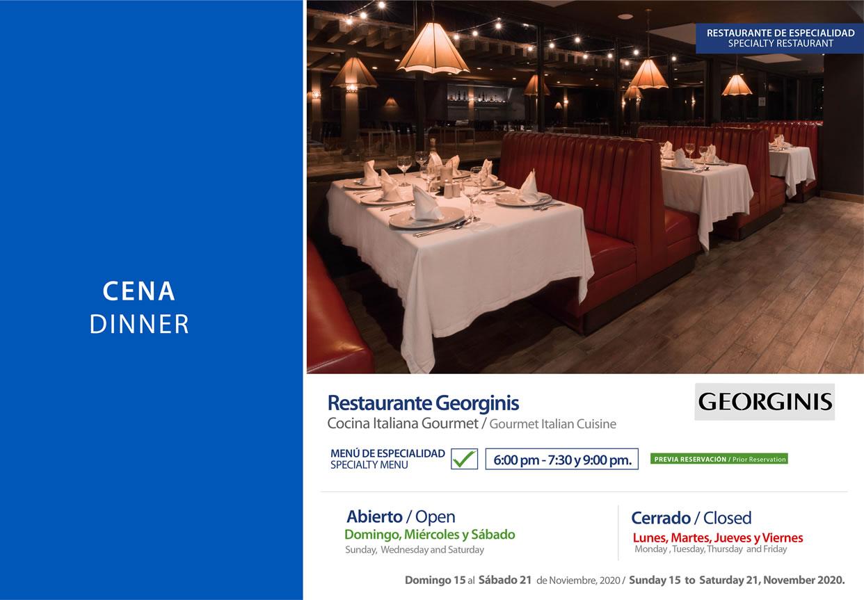 Cena en Restaurante Georgnis Noviembre 15-21 del 2020