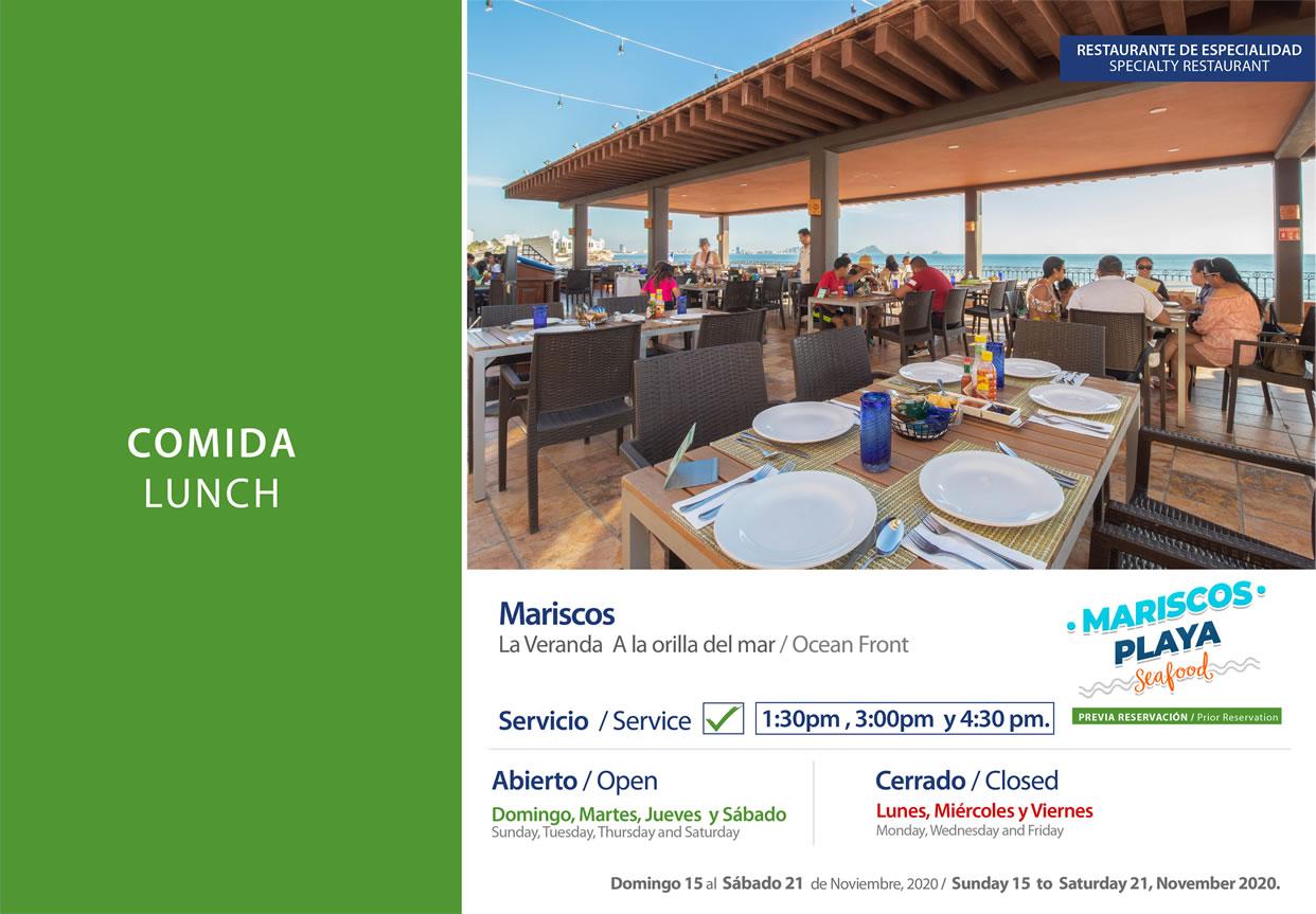 Comida Mariscos en La Veranda Noviembre 15-21 del 2020