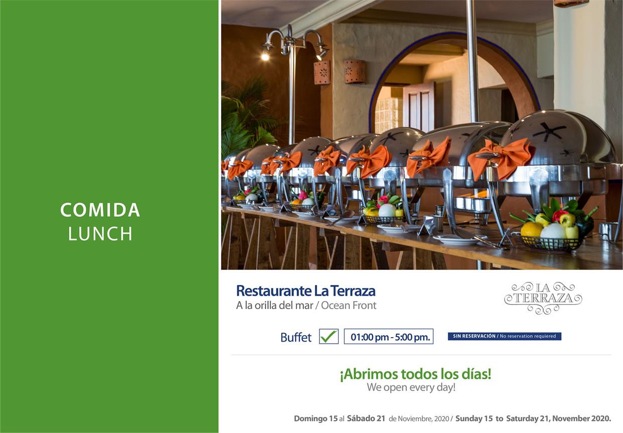 Comida en Restaurante La Terraza Noviembre 15-21 del 2020