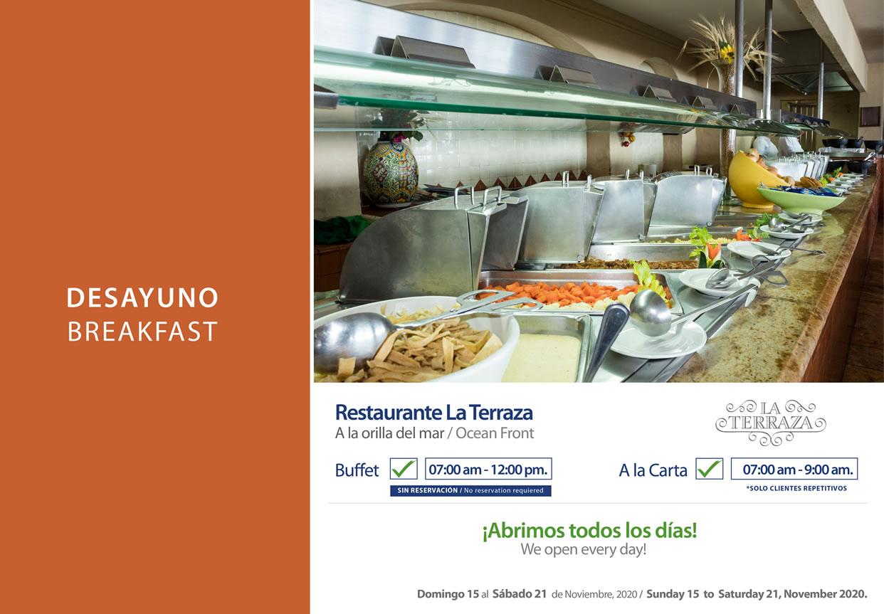 Desayuno en Restaruante La Terraza Noviembre 15-21 del 2020