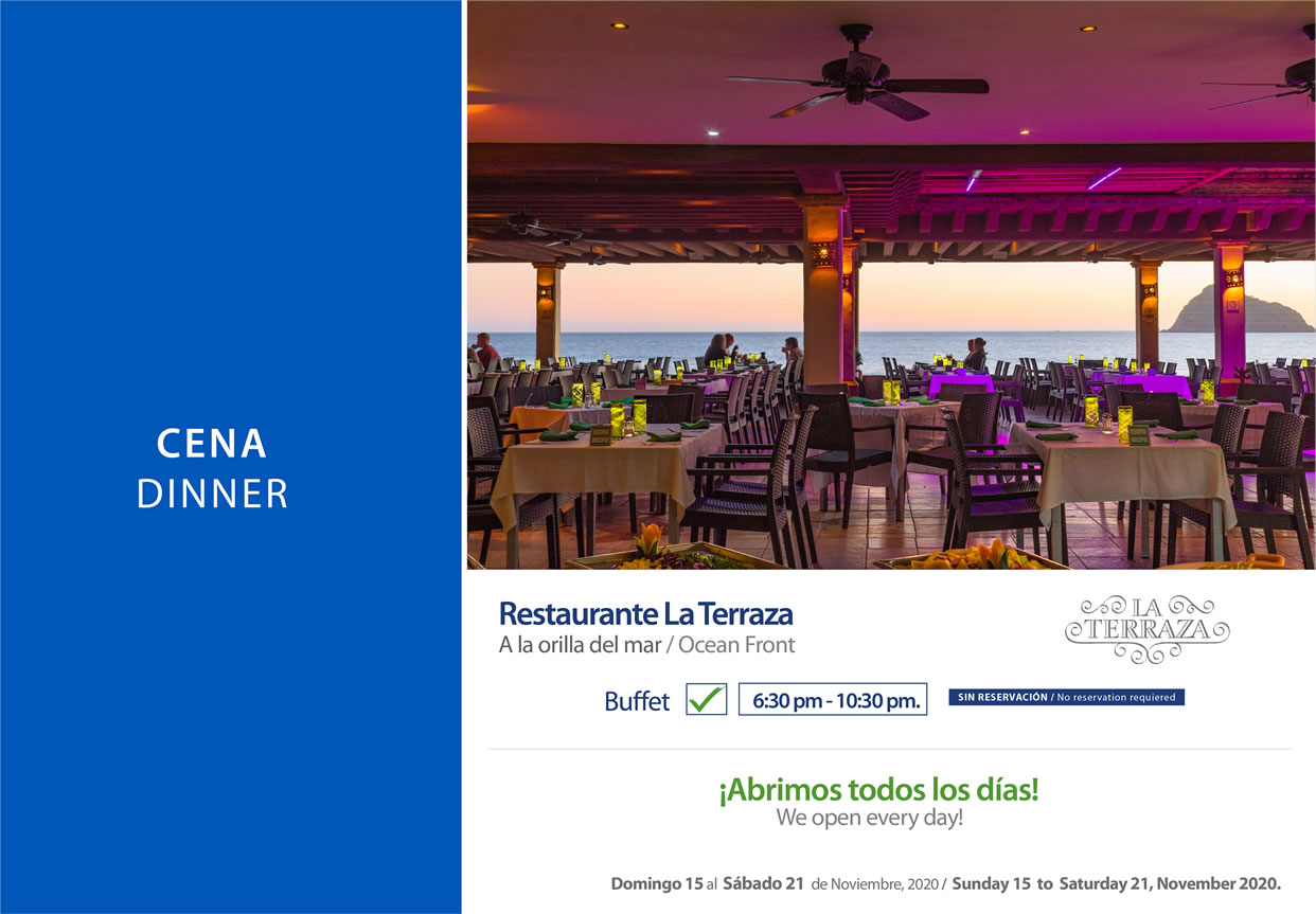 Dinner Restaurant La Terraza November 15-21 2020
