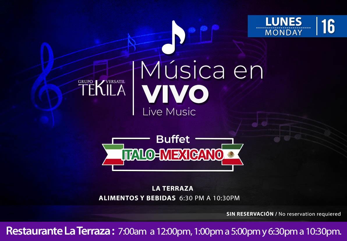 Música en Vivo en Restaurante La Terraza Lunes 16 de Noviembre 2020