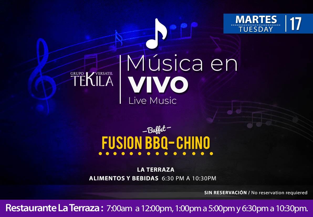 Música en Vivo en Restaurante La Terraza Martes 17 de Noviembre 2020