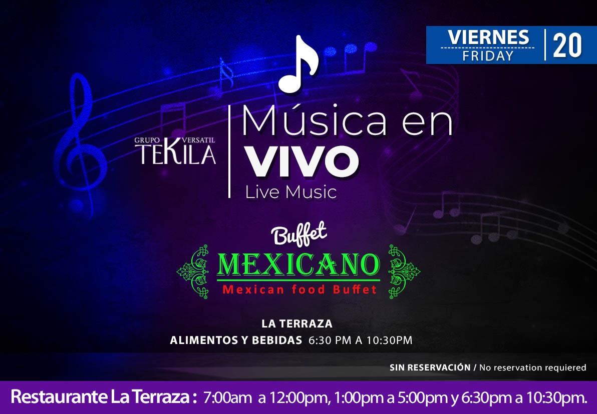 Música en Vivo en Restaurante La Terraza Viernes 20 de Noviembre 2020
