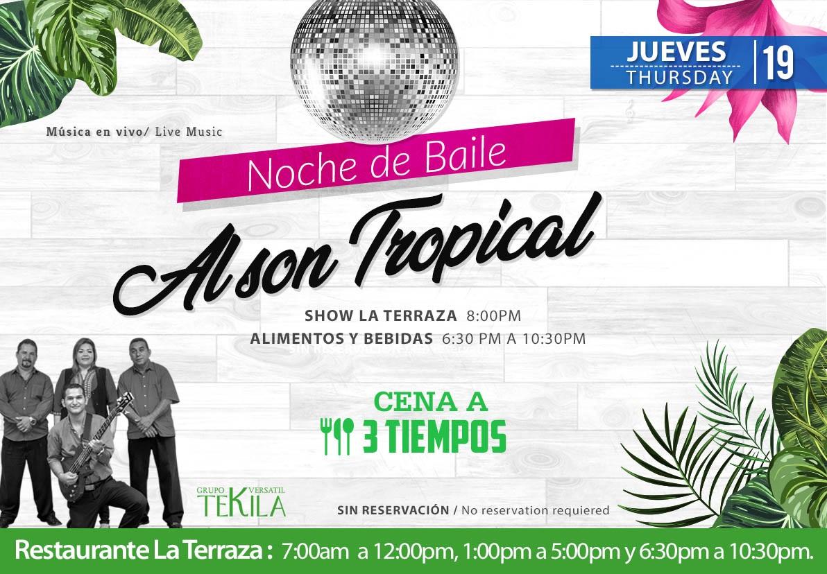 Noche de Baile Al son Tropical en Restaurante La Terraza Jueves 19 de Noviembre 2020