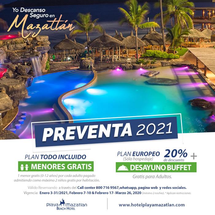 Aprovecha Preventa 2021 de Hotel Playa Mazatlán Desayuno o Menores Gratis