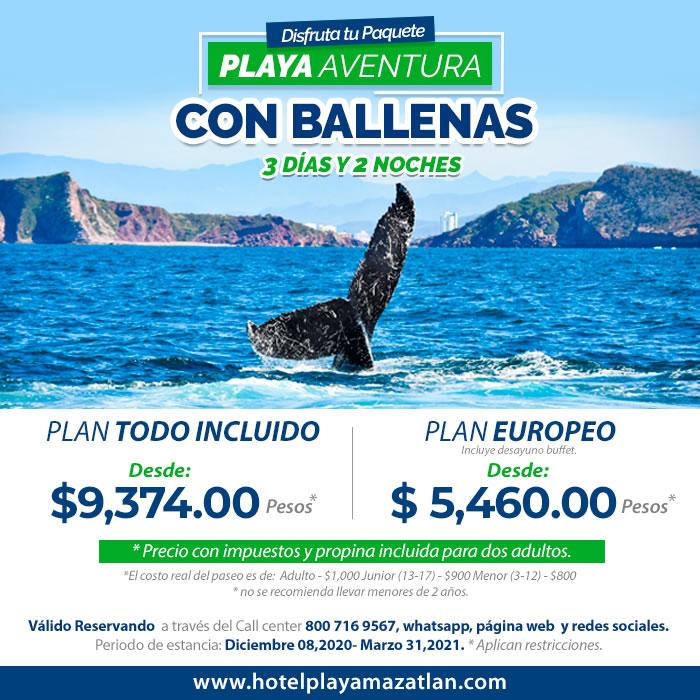 Playa Aventura con Ballenas