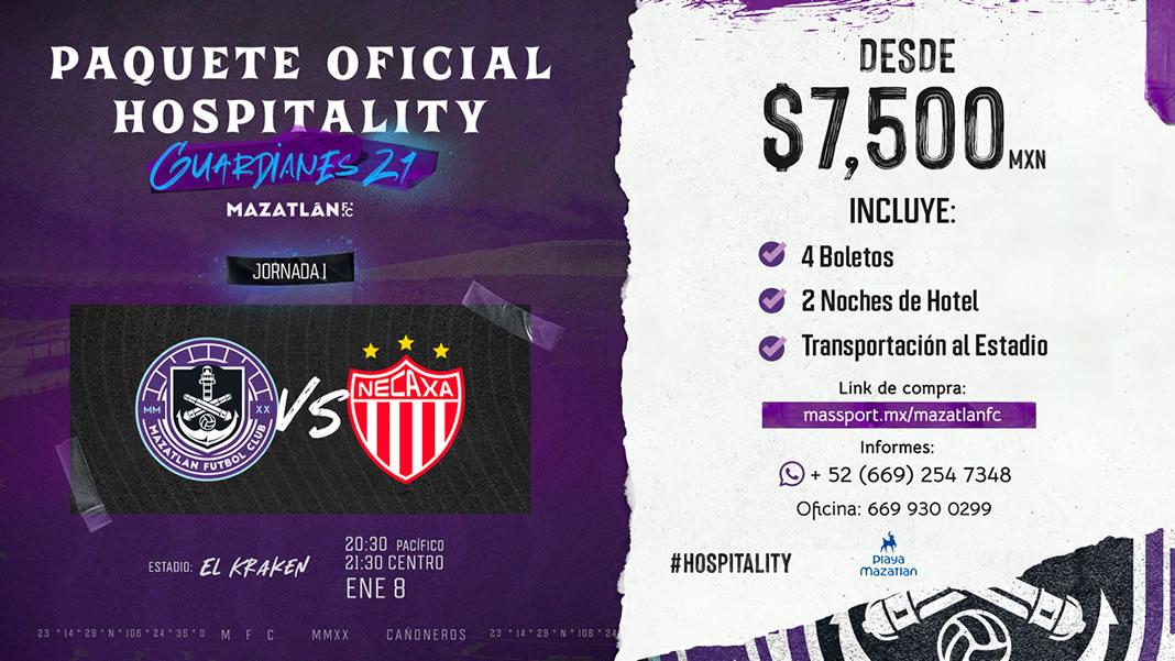 Paquete Oficial Hospitality Guardianes 21 Mazatlán FC Jornada 1 Mazatlán vs Necaxa