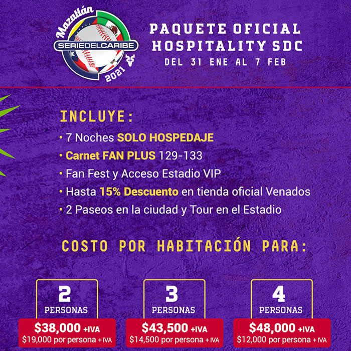 Paquete Oficial Hospitality Serie del Caribe 2021 Hotel Playa Mazatlán