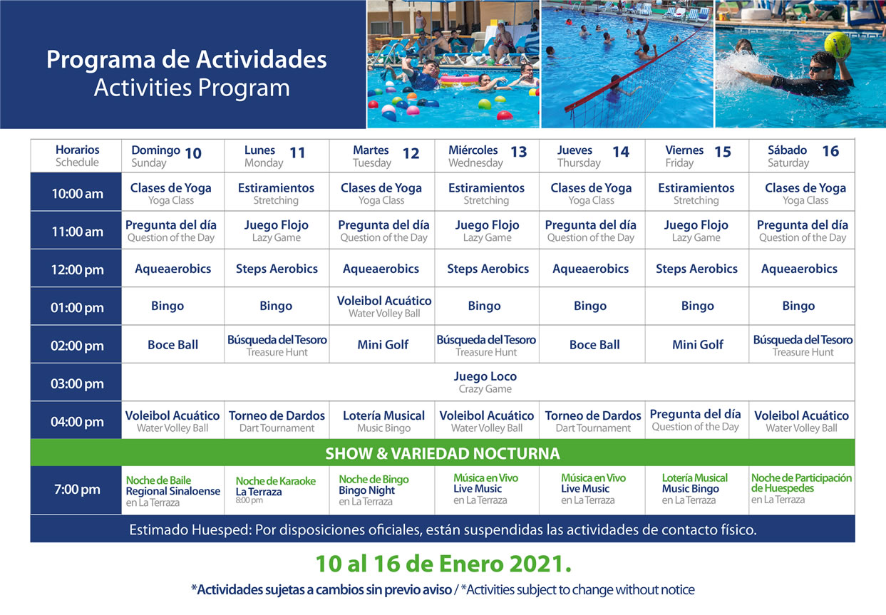 Programa de Actividades de Hotel Playa Mazatlán Enero 10-16 del 2021