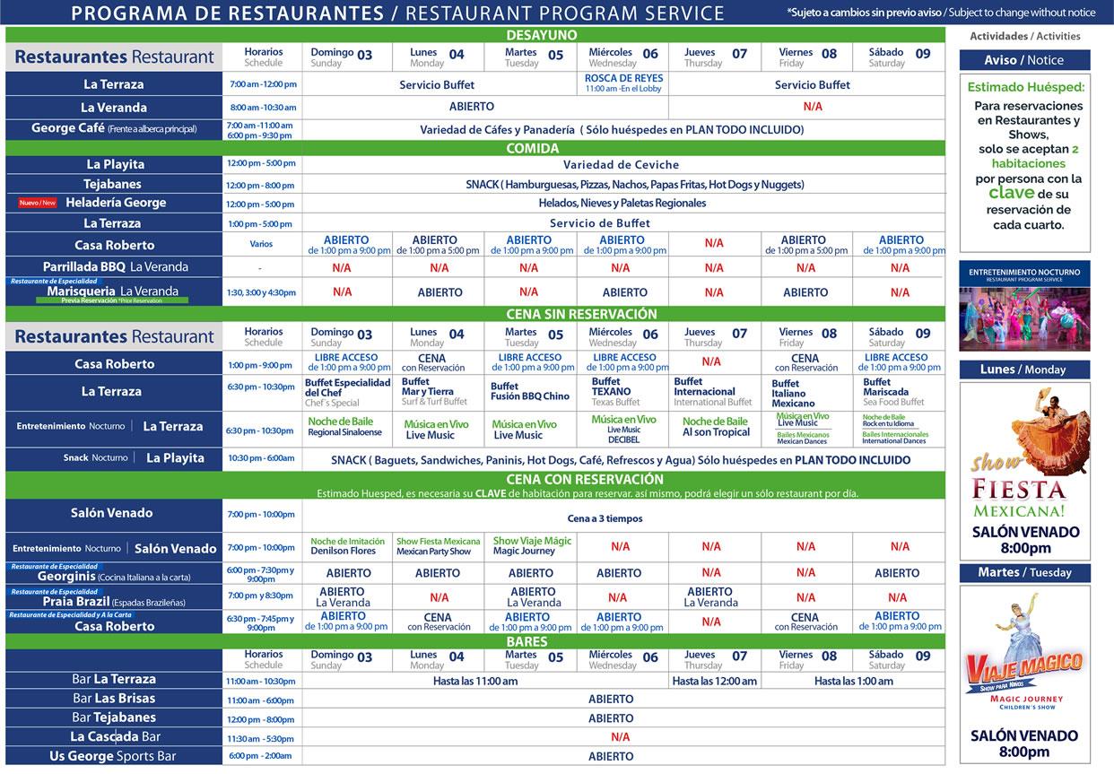 Programa de Restaruantes de Hotel Playa Mazatlán Enero 3-9 del 2021