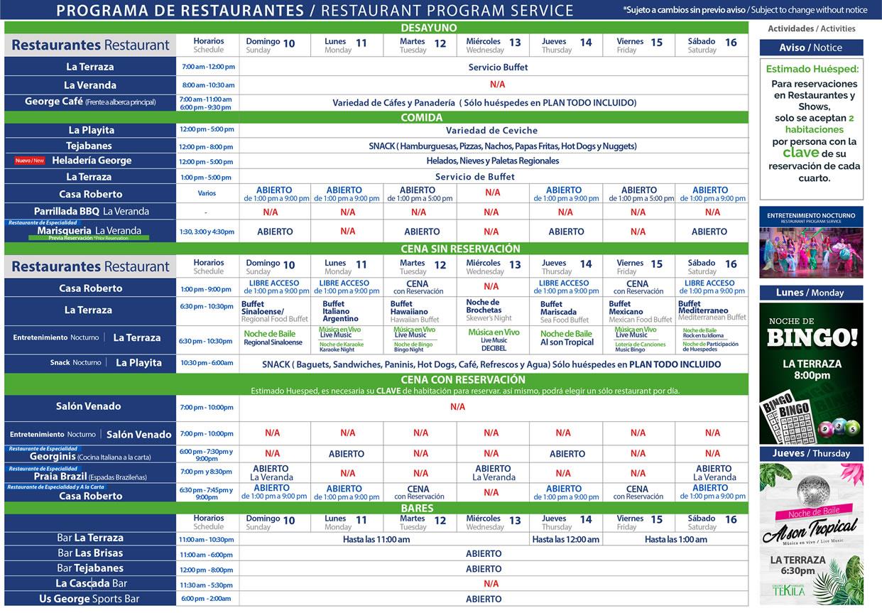 Programa de Restaurantes de Hotel Playa Mazatlán del 10-16 de Enero 2021
