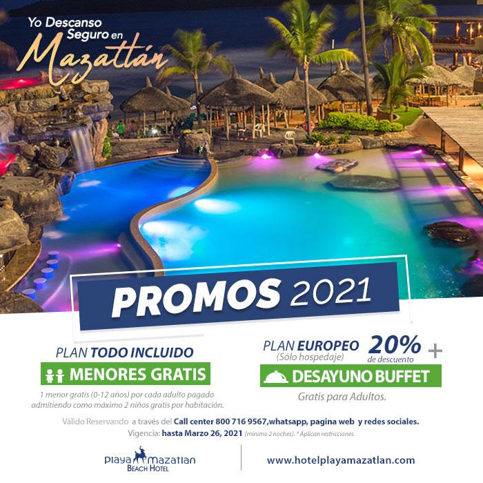Promociones 2021 válidas hasta Marzo 26 de Hotel Playa Mazatlán