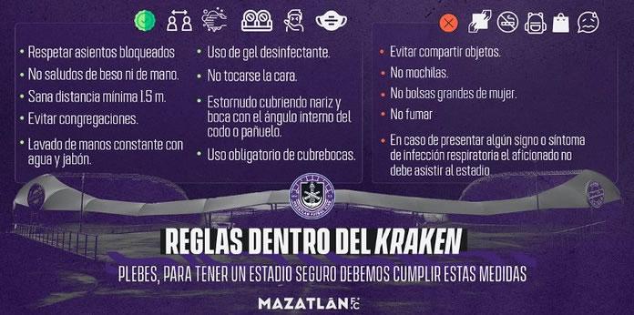 Reglas dentro del Estadio Kraken Mazatlán