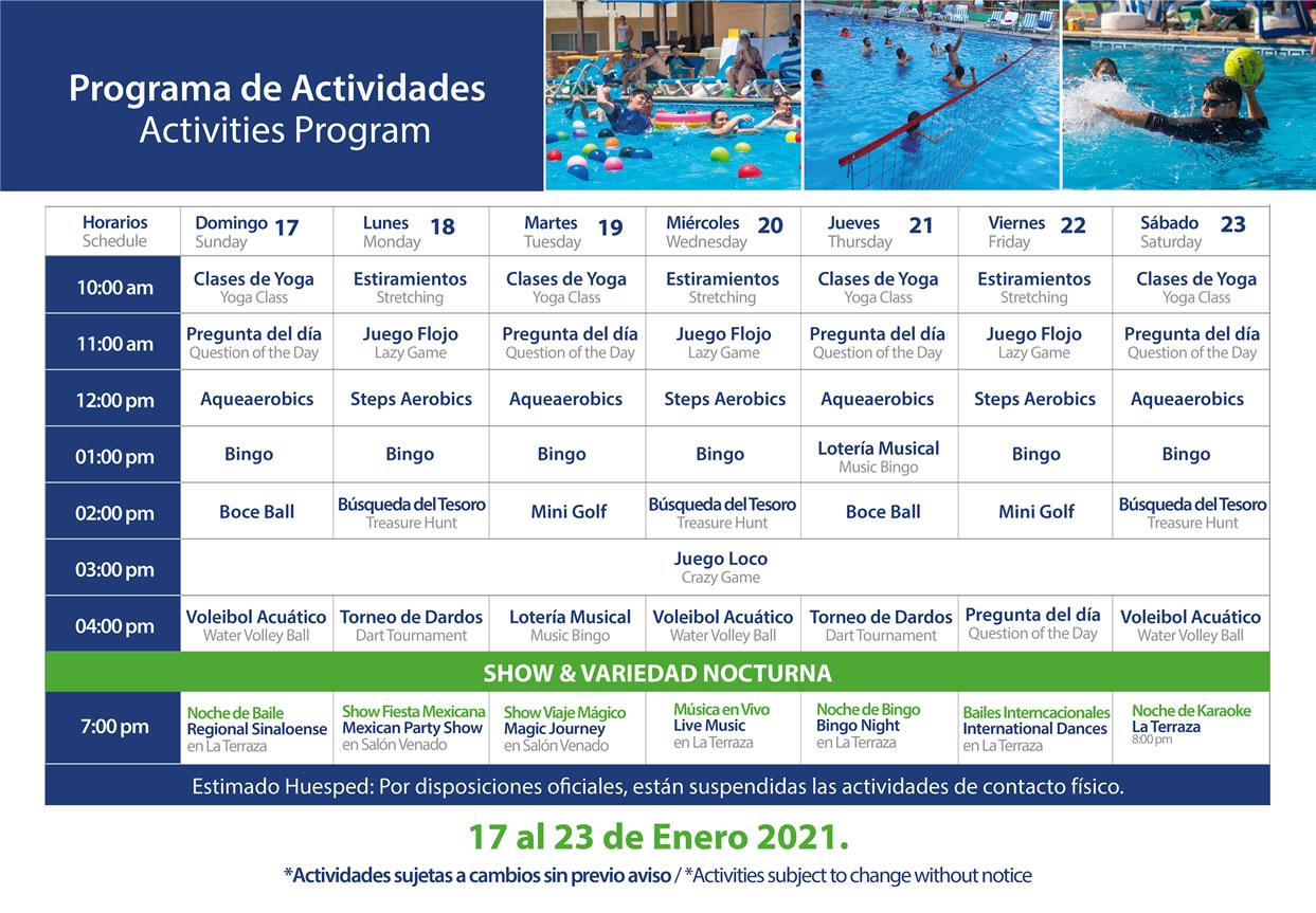 Programa de Actividades del 17 al 23 de Enero del 2021