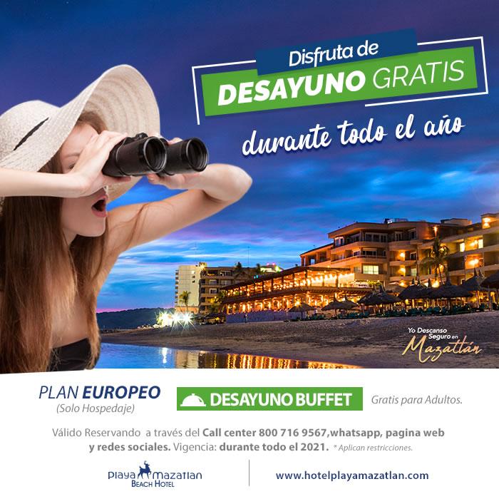 Promoción Desayuno Buffet Gratis para los Adultos en Hotel Playa Mazatlán