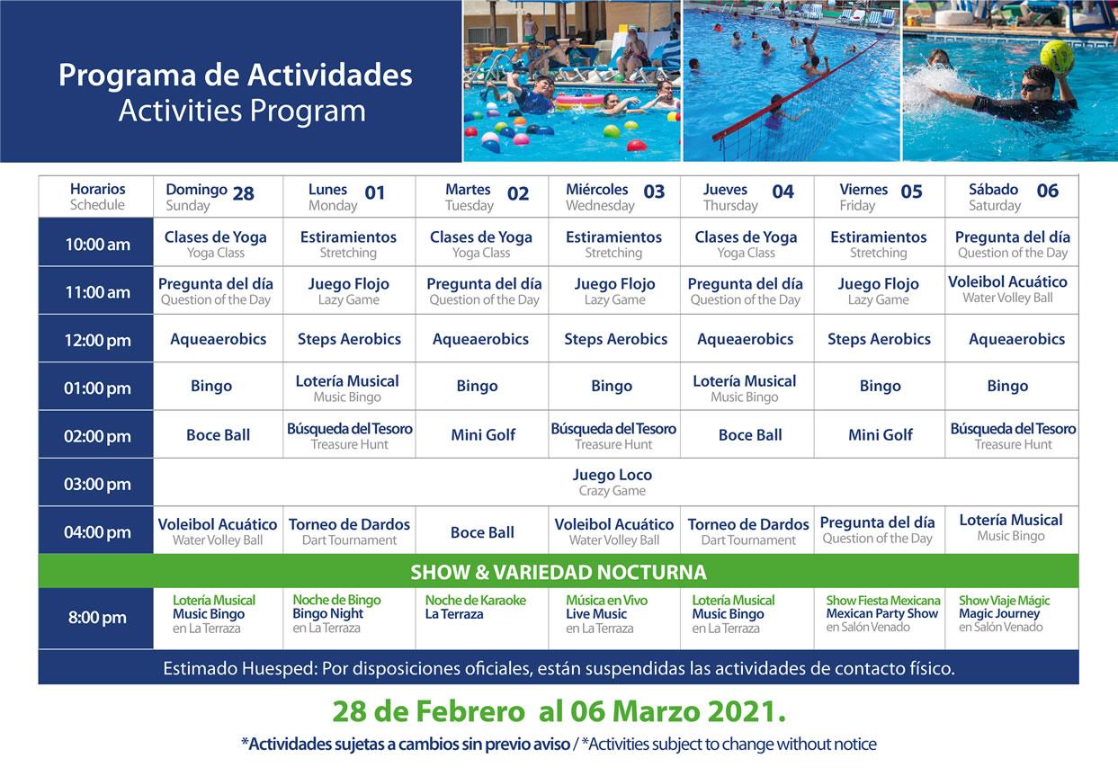 Programa de Actividades del 28 de Febrero al 6 de Marzo 2021 Hotel Playa Mazatlán