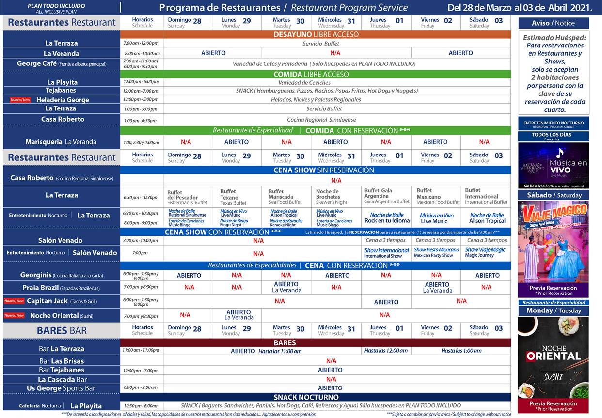 Programa de Restaurantes de Hotel Playa Mazatlán del 28 de Marzo - 3 de Abril 2021