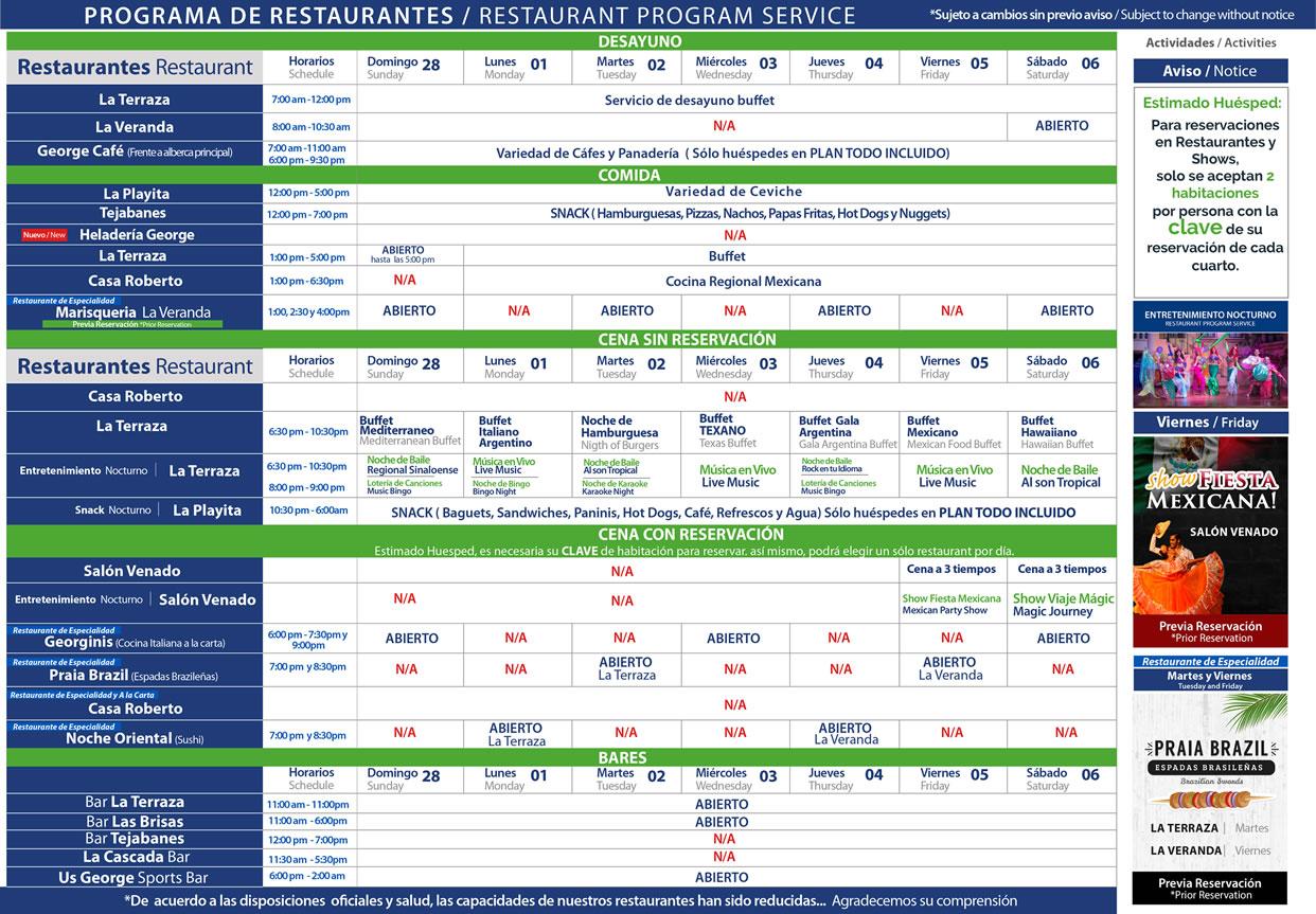 Programa de Restaurantes del 28 de Febrero al 6 de Marzo 2021 Hotel Playa Mazatlán