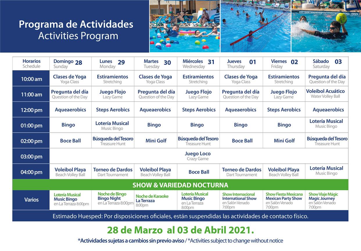 Programa de Actividades del 28 de Marzo al 3 de Abril del 2021