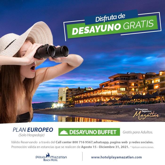 Hospédate con el Desayuno Buffet Gratis Hotel Playa Mazatlán
