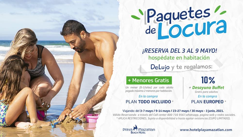 Paquetes de Locura Reservando Habitación De Lujo Hotel Playa Mazatlán