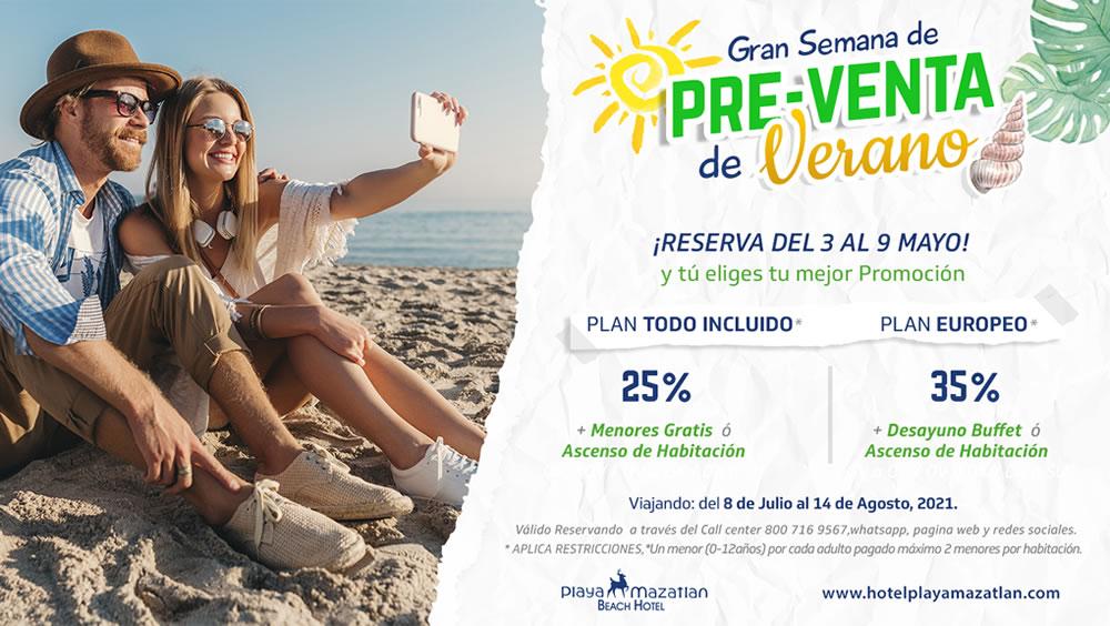 Preventa de Verano 2021 Hotel Playa Mazatlán