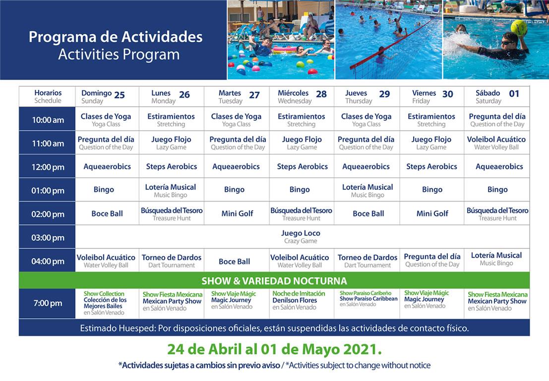Programa de Actividades del 25 de Abril - 1 de Mayo 2021 Hotel Playa Mazatlán