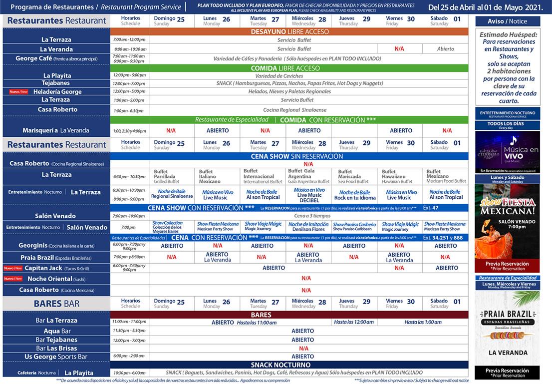 Programa de Restaurantes del 25 de Abril - 1 de Mayo 2021 Hotel Playa Mazatlán