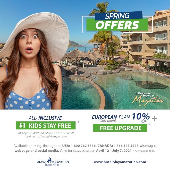 Kids and Upgrade room Free Hotel Playa Mazatlan