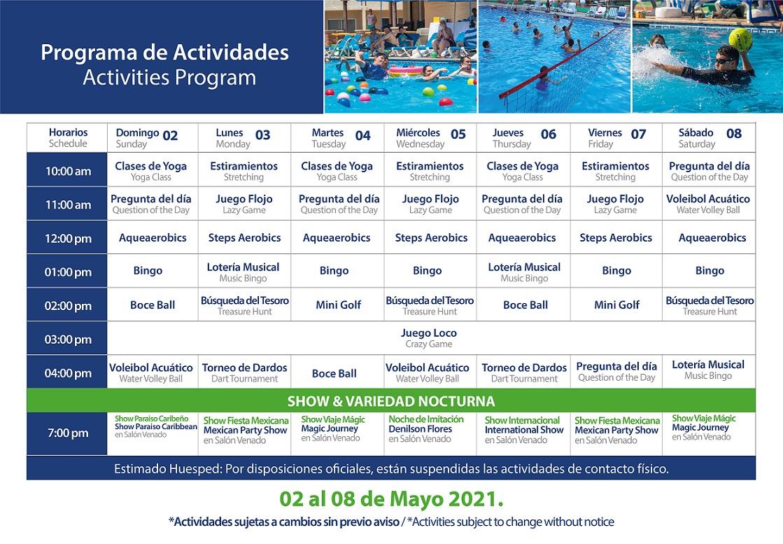 Programa de Actividades del 2 al 8 de Mayo 2021 de Hotel Playa Mazatlán