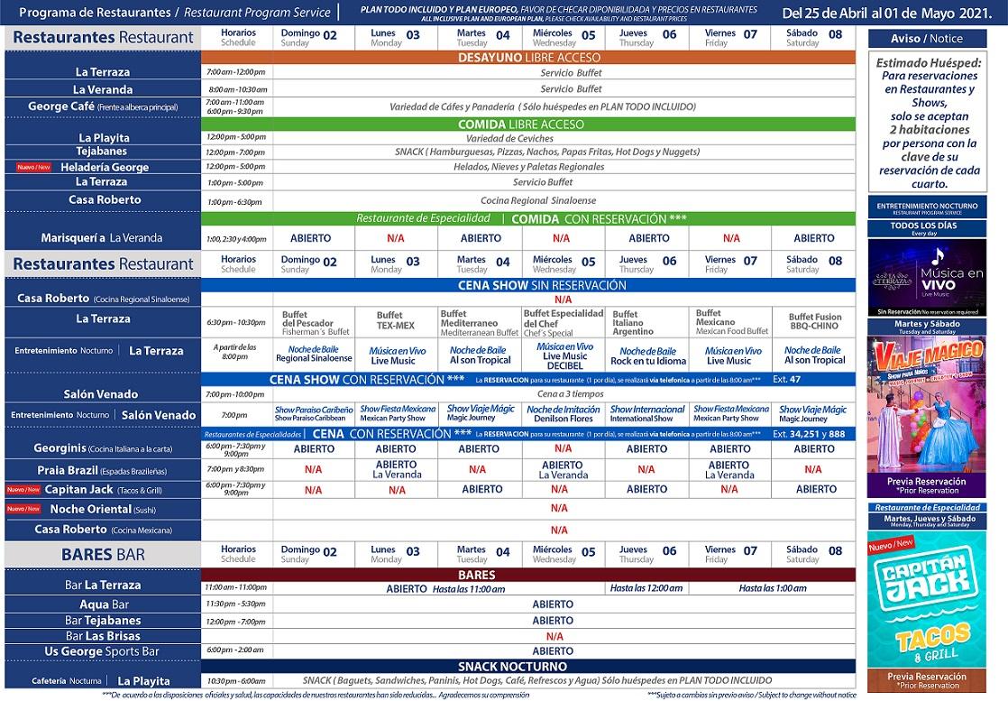 Programa de Restaurantes del 2 al 8 de Mayo 2021 de Hotel Playa Mazatlán