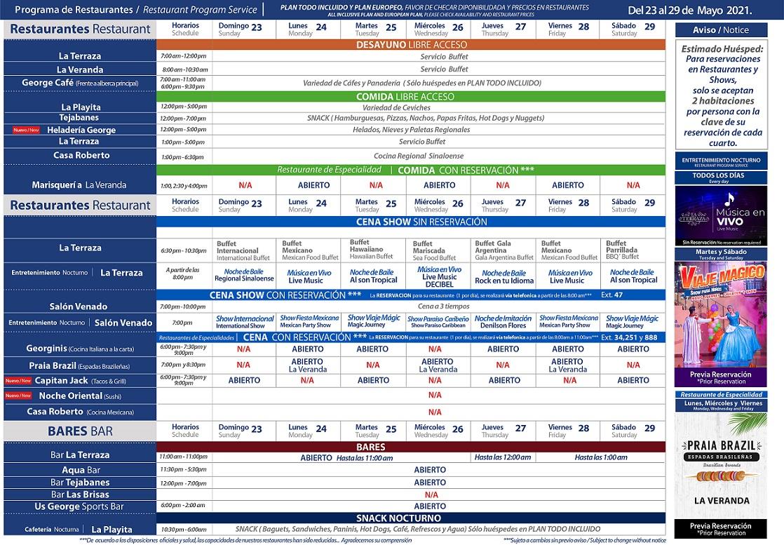 Programa de Restaurantes del 23 al 29 de Mayo 2021 de Hotel Playa Mazatlán