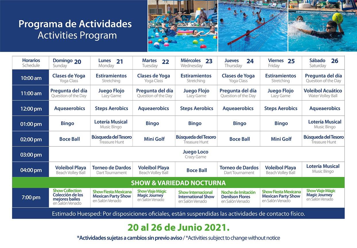 Programa de Actividades del 20-26 de Junio 2021 de Hotel Playa Mazatlán