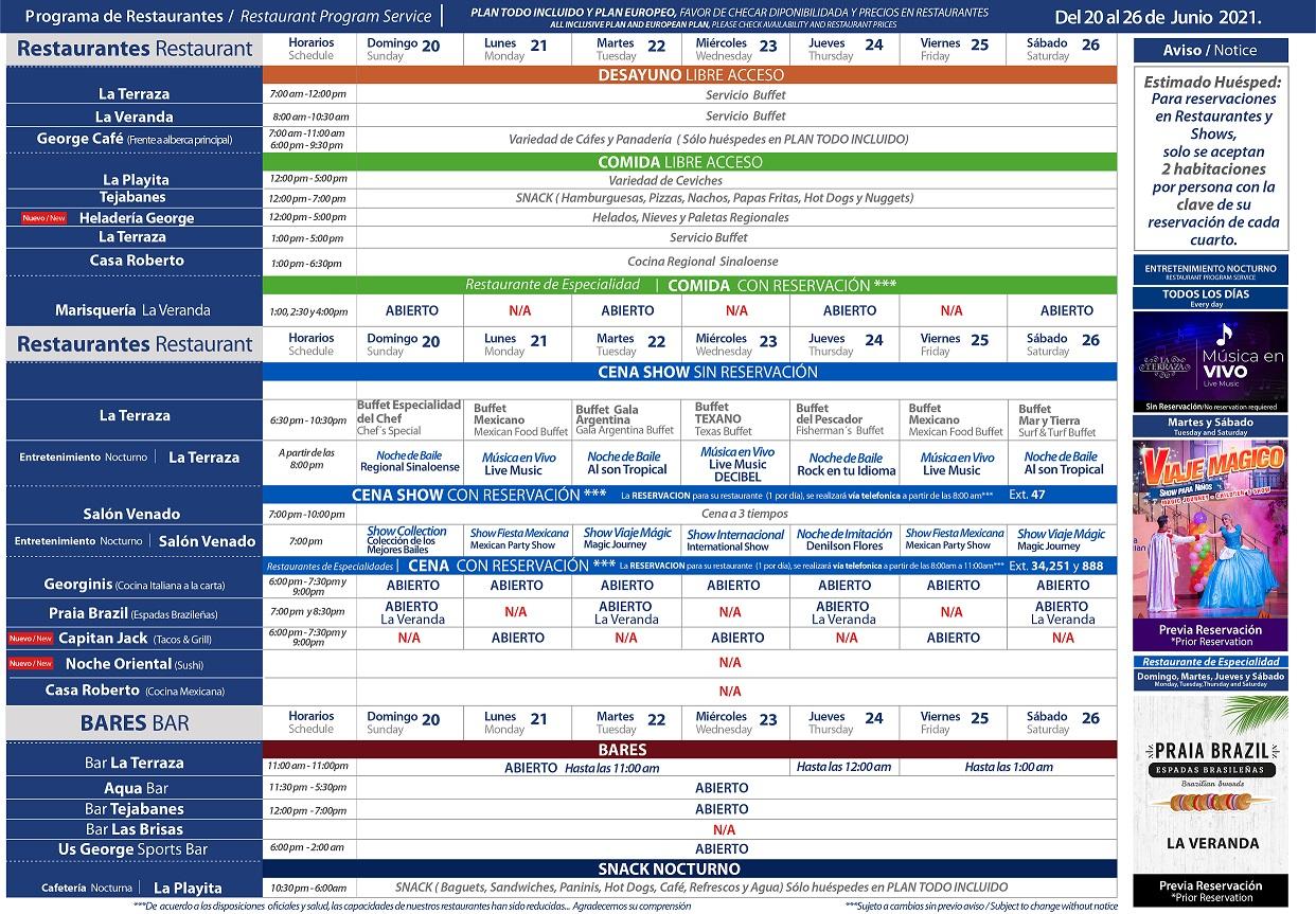 Programa de Restaurantes del 20-26 de Junio 2021 de Hotel Playa Mazatlán