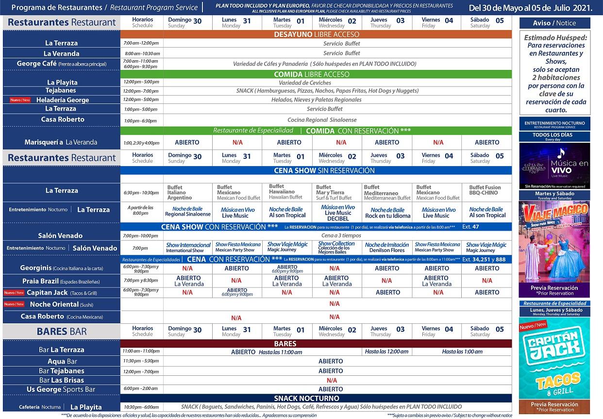 Programa de Restaurantes del 30 de Mayo al 5 de Junio 2021 de Hotel Playa Mazatlán