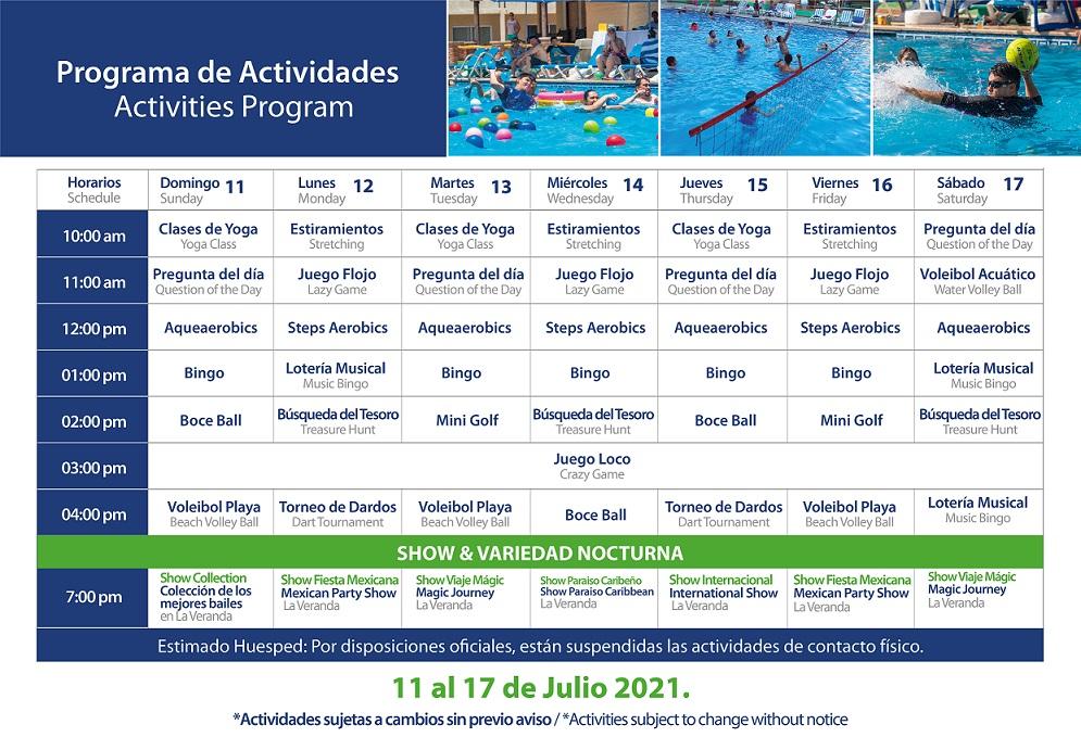 Programa de Actividades de Julio 11-17 Hotel Playa Mazatlán