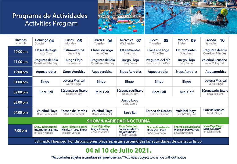 Programa de Actividades de Julio 4-10 Hotel Playa Mazatlán