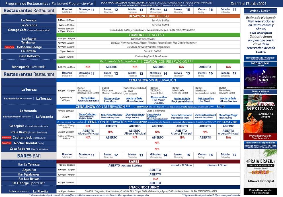 Programa de Restaurantes del 11-17 de Julio 2021 de Hotel Playa Mazatlán