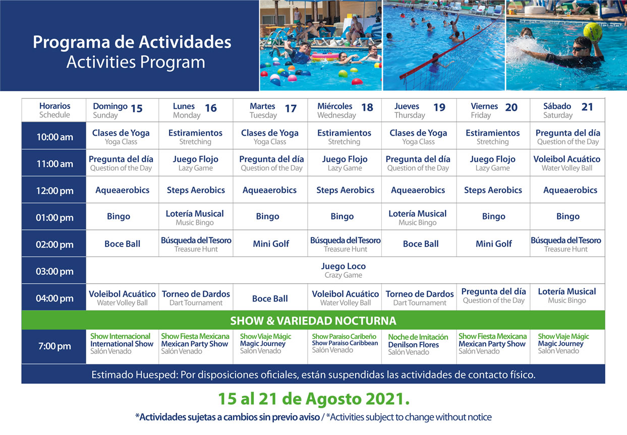 Programa de Actividades del 15-21 de Agosto 2021 Hotel Playa Mazatlán