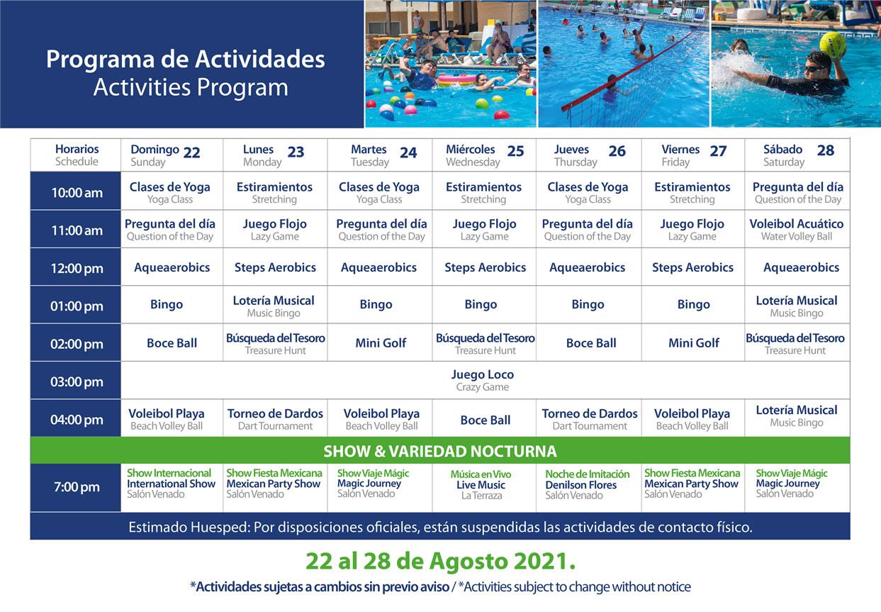 Programa de Actividades del 22-28 de Agosto 2021 Hotel Playa Mazatlán